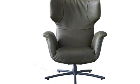 "Label fauteuil ""first class"" in olijfgroen leer"