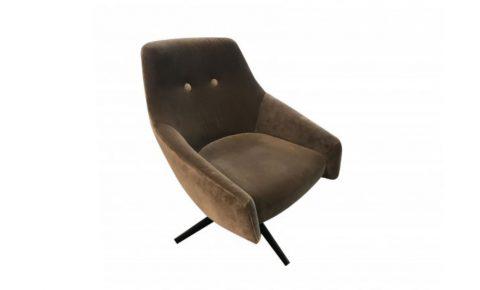 """Montis fauteuil """"puk low"""" uitgevoerd in stof Harald bruin/leverkleurig velours"""